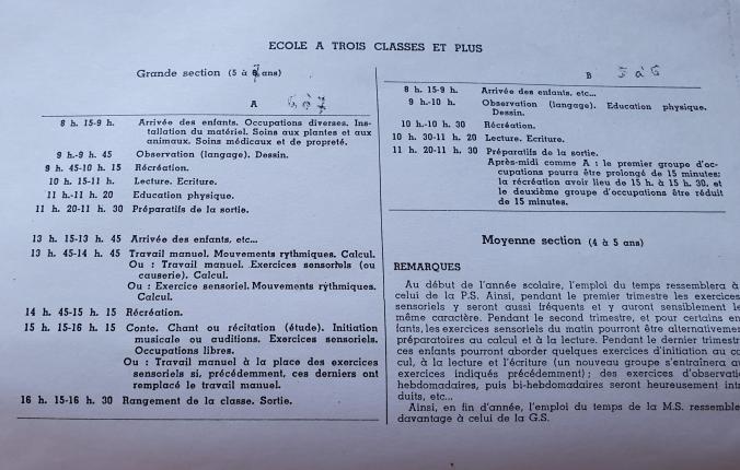 Emploi du temps 1939 école à 3 classes