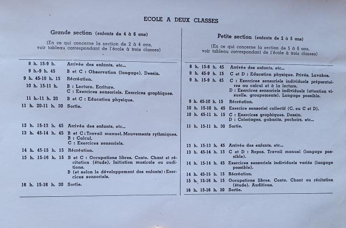 Emploi du temps 1939 école à deux classes