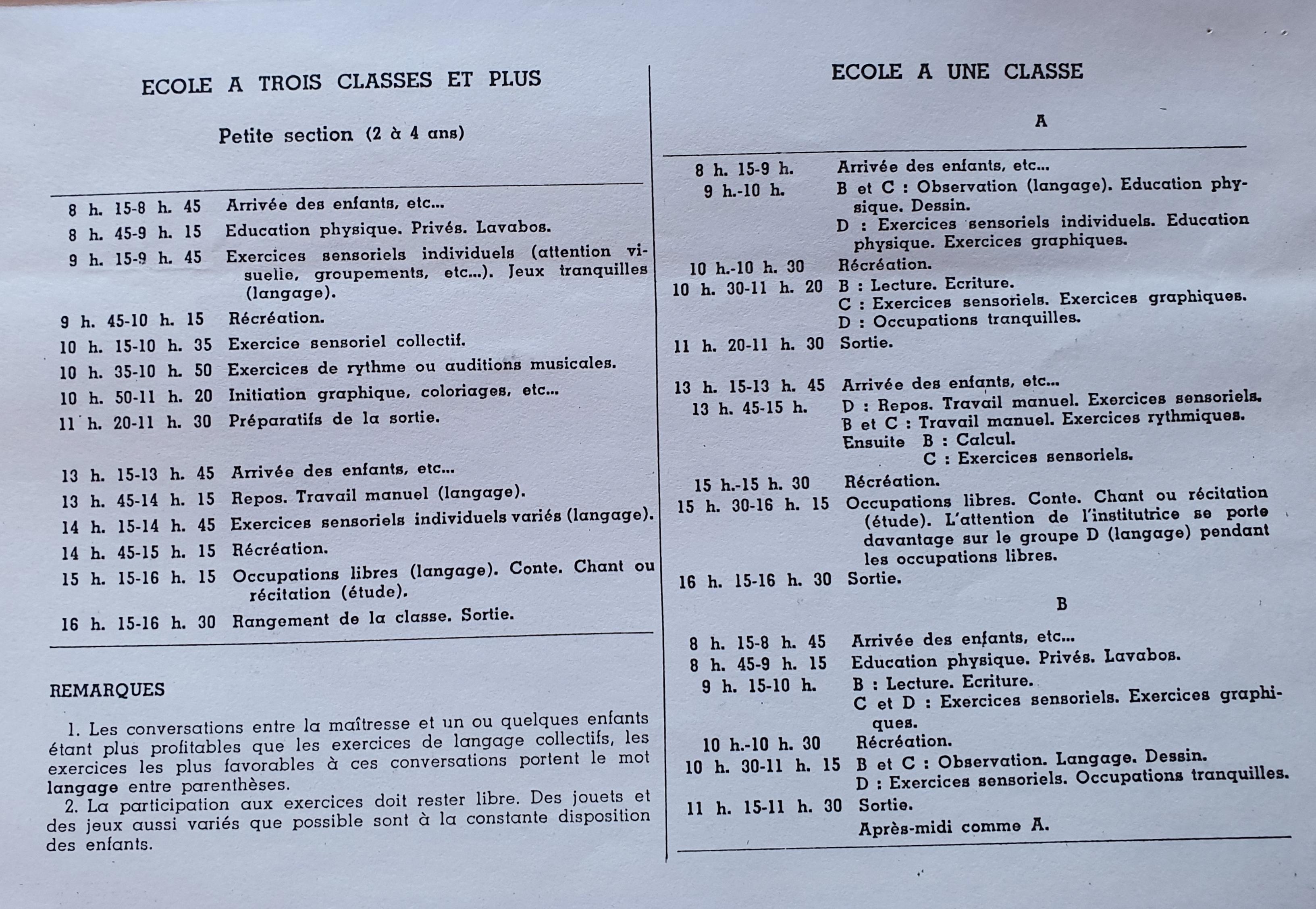 Emploi du temps 1939 école à une classe