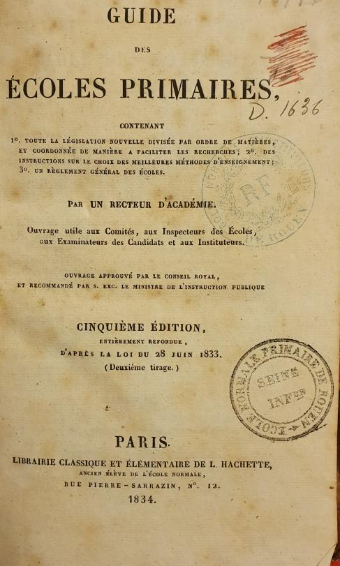 Guide des écoles primaires 1834