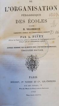 Livre Organisation pédagogique des écoles 1863