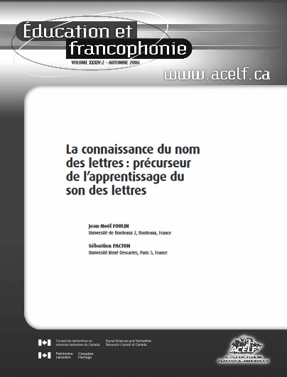 L7 Article Education et Francophonie Foulin Pacton 2006