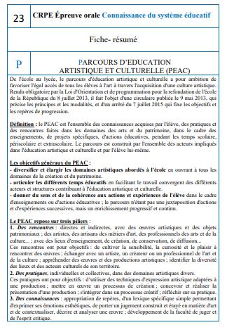 Fiche CSE 23 Le PEAC