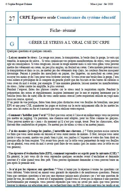 Fiche-résumé CSE 27