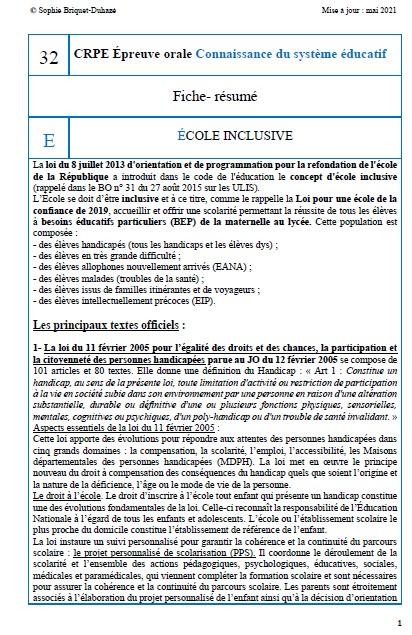 Fiche-résumé CSE 32