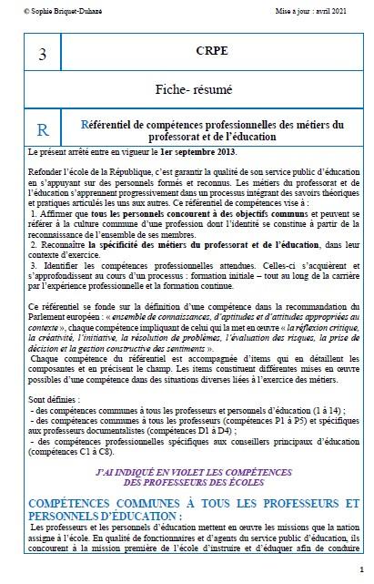 3. Référentiel de compétences professionnelles de 2013