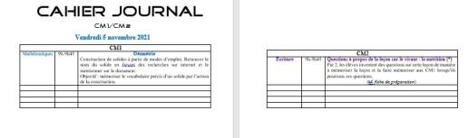 Cahier journal rempli CM1-CM2