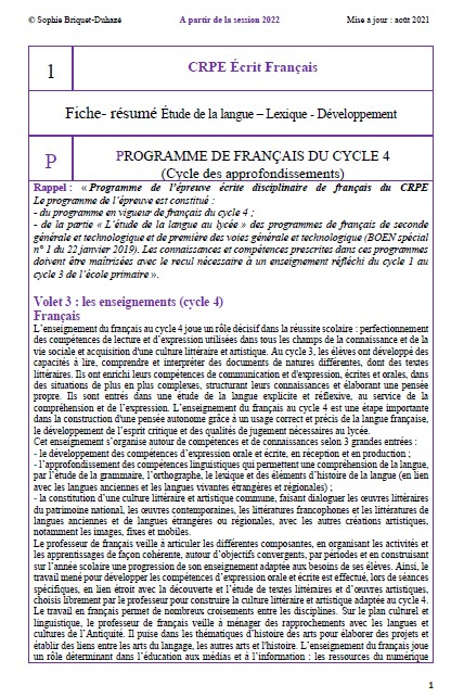 CRPE français 1 Programme français cycle 4
