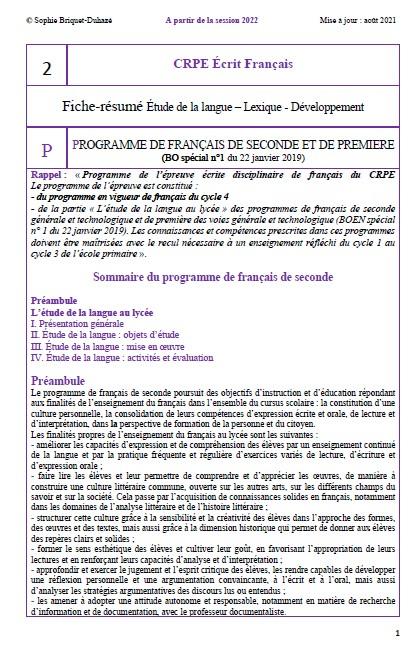 CRPE français 2 Programme français lycée