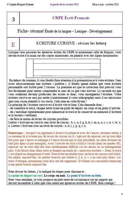CRPE français 3 Ecriture cursive
