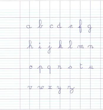 Lettres minuscules cursives cahier seyès agrandi